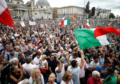 Thousands march in Rome to protest workplace vaccine rule