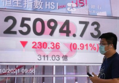 World shares fall as pricier energy feeds inflation fears